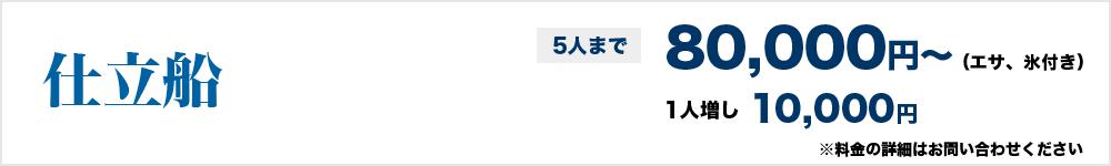 仕立船5人まで80,000円(エサ、氷付き)~、1人増し10,000円