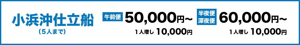 小浜沖仕立船(5人まで)午前便50,000円~、1人増し10,000円 半夜便、深夜便60,000円~、1人増し10,000円