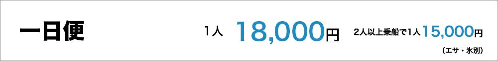 一日便1人18,000円(エサ、氷別)、1人増し15,000円 最大8人まで