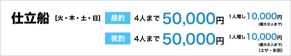 仕立船(火・木・土・日) 昼釣4人まで50,000円(エサ、氷別)、 夜釣4人まで50,000円(エサ、氷別)、1人増し10,000円 最大8人まで