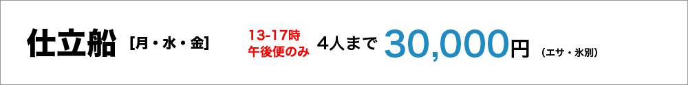 仕立船(月・水・金)13-17午後便のみ4人まで30,000円(エサ、氷別)