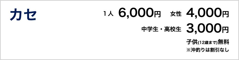 カセ 1人6000円 女性4000円 中学生・高校生3000円 子供(12歳まで)無料 ※沖釣りは割引なし