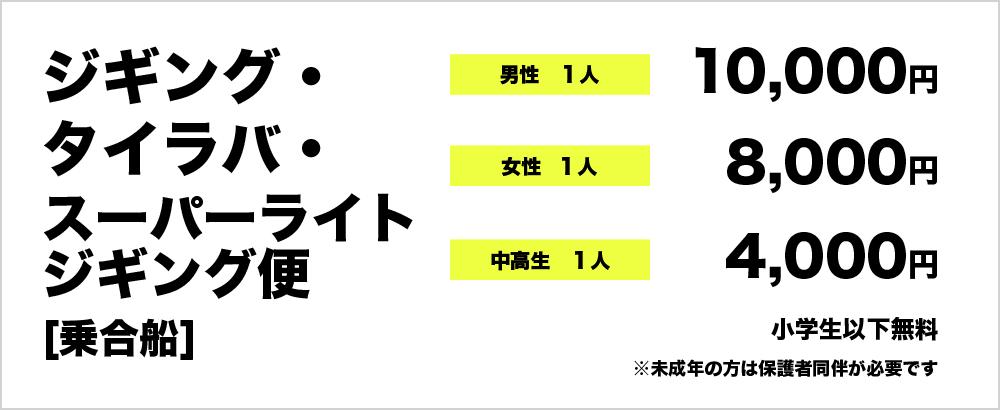 ジギング・タイラバ・スーパーライトジギング便(乗合船) 男性1人 10000円 女性1人 8000円 中、高生1人 4000円 小学生以下無料 ※未成年の方は要保護者同伴