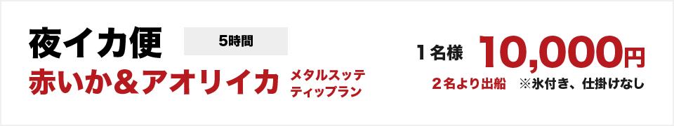 夜イカ便 赤いか&アオリイカ メタルスッテ ティップラン(5時間)1名様 10000円(2名より出船)※氷付き、各仕かけなし