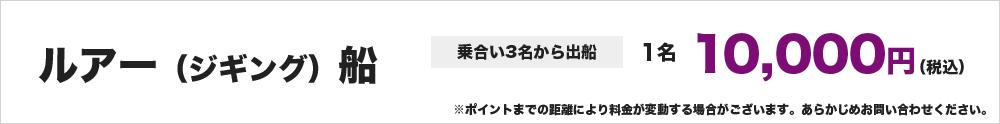 ルアー(ジギング)船 ※乗合い3名から出船 1名10,000円~ ※ポイントまでの距離により料金が変動する場合がございます。あらかじめお問い合わせください。
