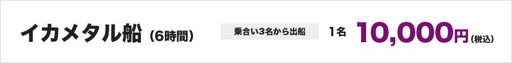 イカメタル船(6時間) ※乗合い3名から出船 1名10,000円~