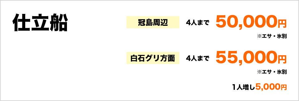 仕立船 冠島周辺4人まで50,000円(エサ・氷別) 白石グリ方面4人まで55,000円(エサ・氷別) 1人増し5,000円