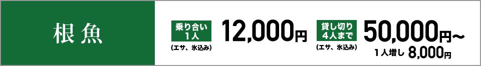 根魚 乗り合い1人12,000円(エサ、氷込み) 貸し切り4人まで50,000円~(エサ、氷込み) 1人増し8,000円