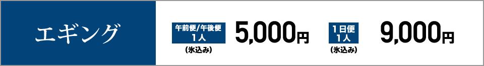 エギング 午前便/午後便1人5,000円(氷込み) 1日便1人9,000円(氷込み)