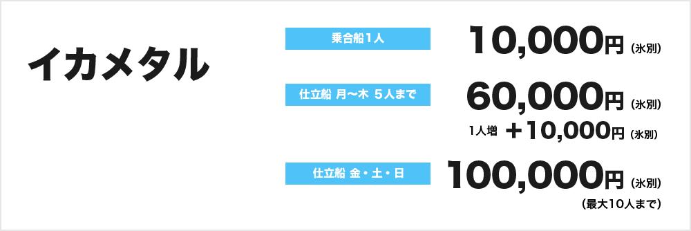 イカメタル:乗合船1人10,000円(氷別)仕立船 月~木 5人まで60,000円 1人増し1万円 金土日100,000円(最大10人まで)