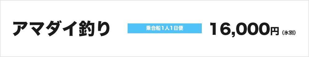 アマダイ釣り:乗合船1人1日便16,000円(氷別)