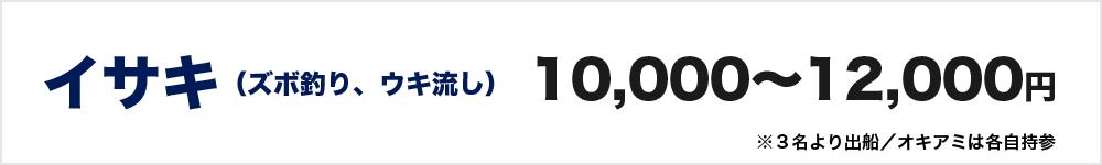 イサキ(ズボ釣り、ウキ流し) 10000円~12000円 ※3名より出船/オキアミは各自持参