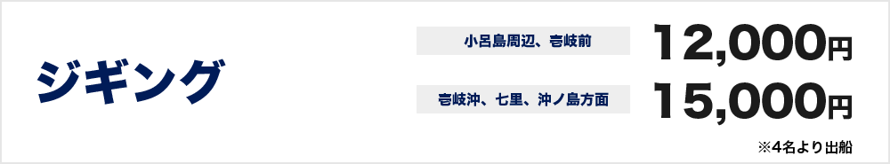 ジギング 小呂島周辺、壱岐前 12000円  壱岐沖、七里、沖ノ島方面 15000円 ※4名より出船