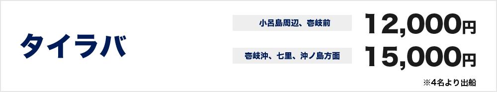 タイラバ 小呂島周辺、壱岐前 12000円  壱岐沖、七里、沖ノ島方面 15000円 ※4名より出船