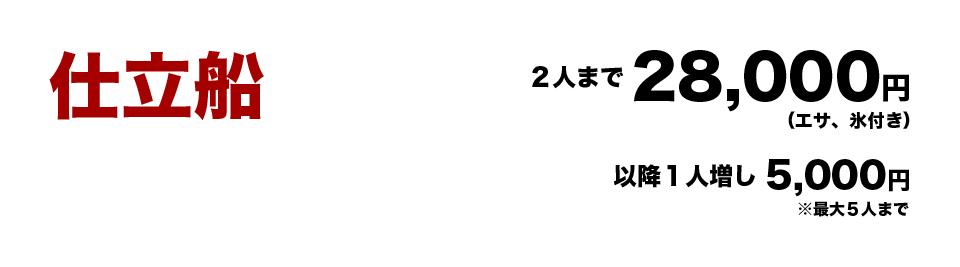 仕立船2人まで28,000円(エサ、氷付き) 以降1人増し5,000円 ※最大5人まで