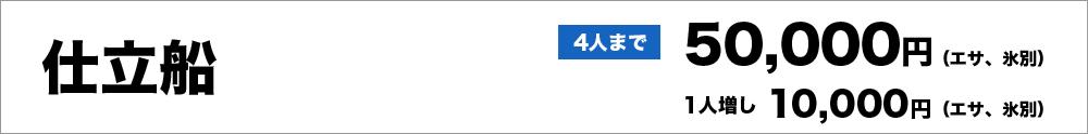 仕立船4人まで50,000円(エサ、氷別)、1人増し10,000円(エサ、氷別)