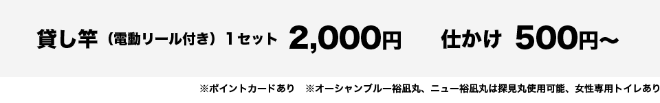 貸し竿(電動リール付き)1セット2,000円、仕かけ500円より
