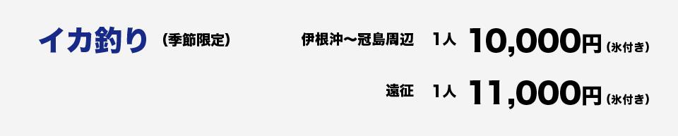 イカ釣り(季節限定)伊根沖~冠島1人10,000円(氷付き)遠征1人11,000円(氷付き)